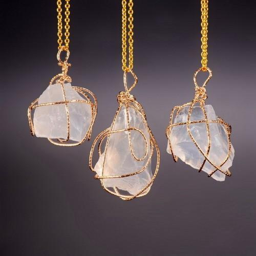 GOLD PLATED WHITE NATURAL STONE PENDANT NECKLACE – MALALA JEWEL