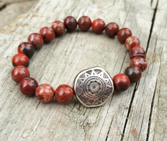 Red Stone and Silver Bracelet, Southwestern Red Jewelry – Rustica .
