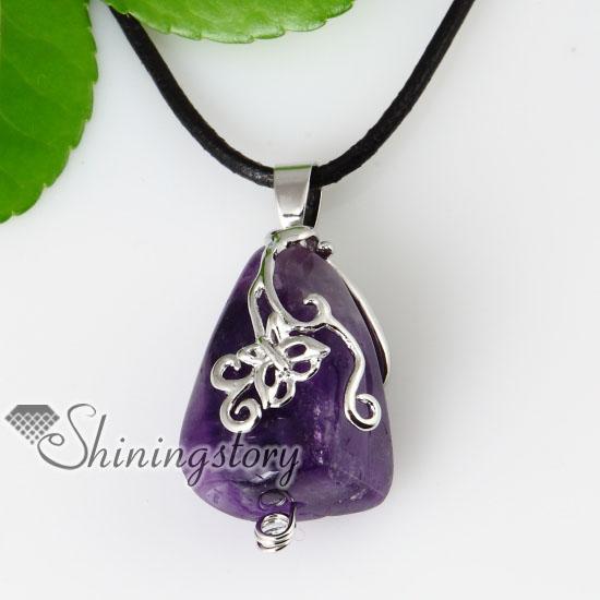 butterfly openwork semi precious stone amethyst necklaces pendants .