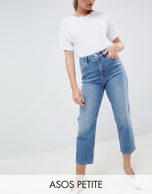 ASOS DESIGN Petite Farleigh high waisted straight leg jeans in .