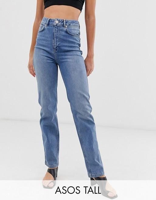 ASOS DESIGN Tall Farleigh high waisted straight leg jeans in stone .