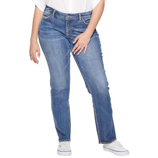 Silver Jeans Women's Plus Size Suki Straight Leg Jeans .