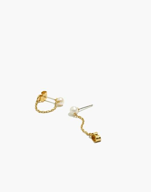 Freshwater Pearl Chain Stud Earrin