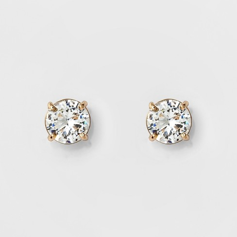 Women's Round Crystal Stud Earring - A New Day™ Gold : Targ