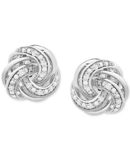 Macy's Diamond Love Knot Stud Earrings (1/10 ct. t.w.) in Sterling .