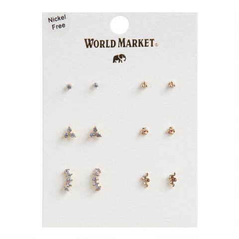 Gold And Glass Stud Earrings | World Mark