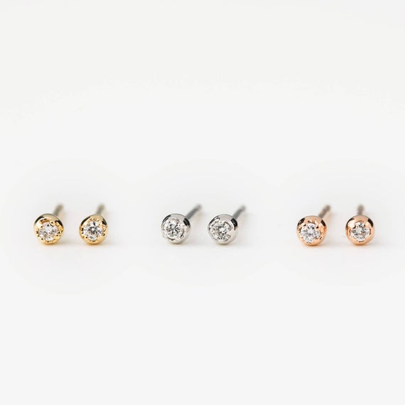 1.5mm diamond stud earrings tiny diamond stud earrings | Et