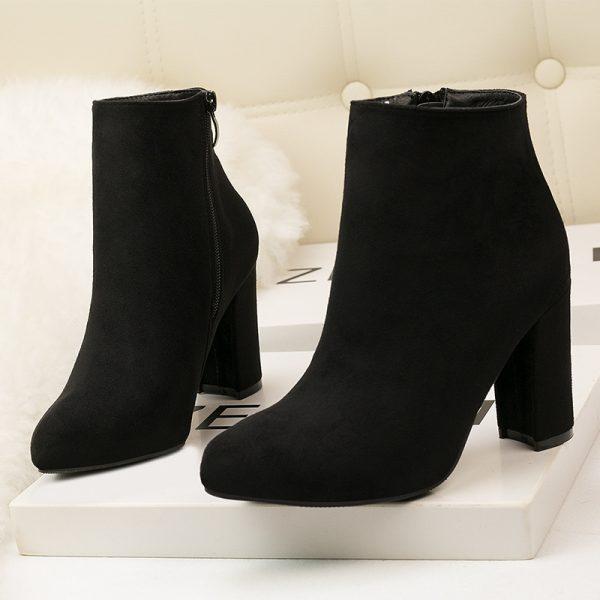 Black Suede Block Heel Ankle Bootie - Heels
