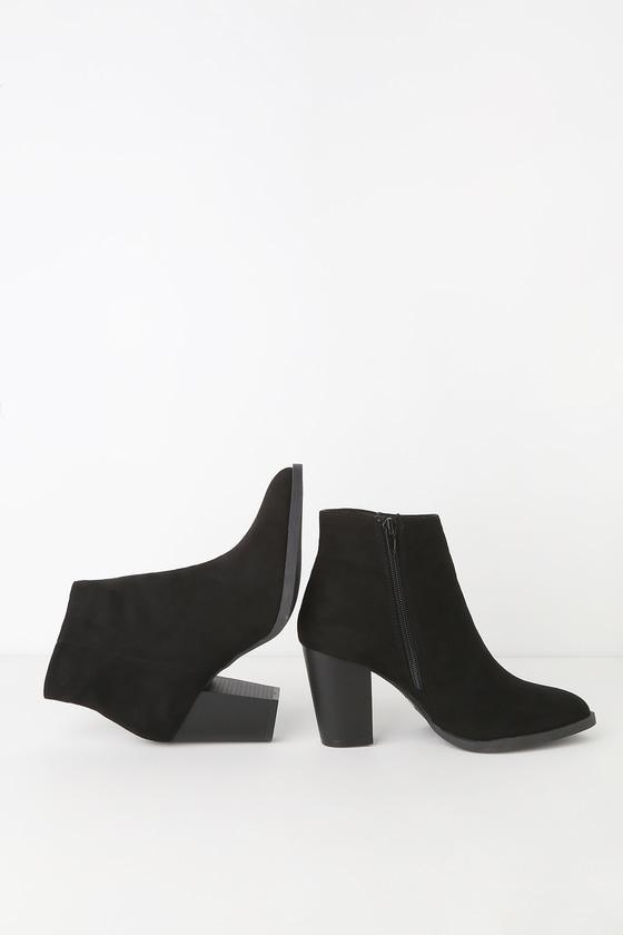 Cute Vegan Suede Booties - High Heel Booties - Black Booti