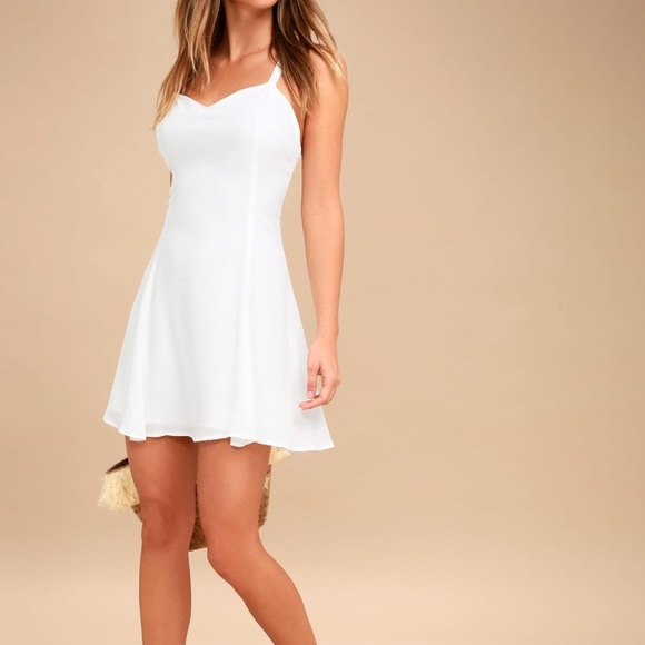 Lulu's Dresses | White Dress Nwt Strappy And Cute Summer Dress .