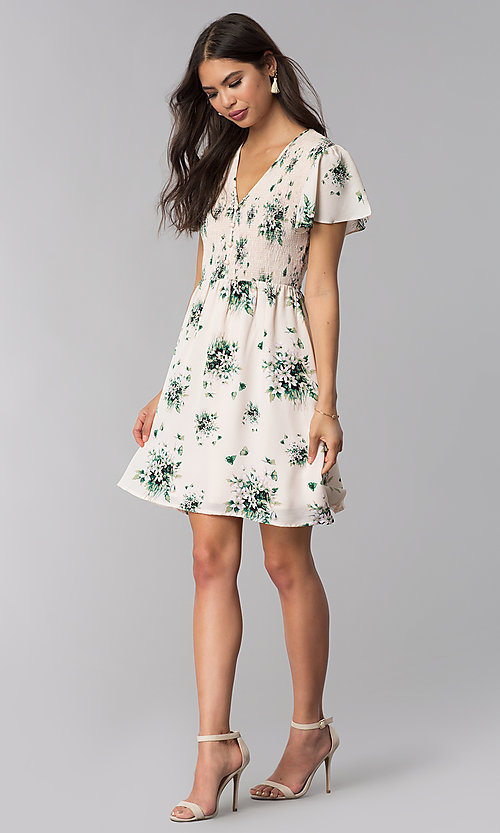 Pink Short Floral-Print Casual Summer Dress - PromGi