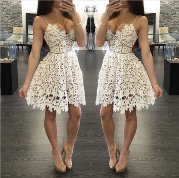 cute white lace short prom dress, evening dress, summer dress · of .