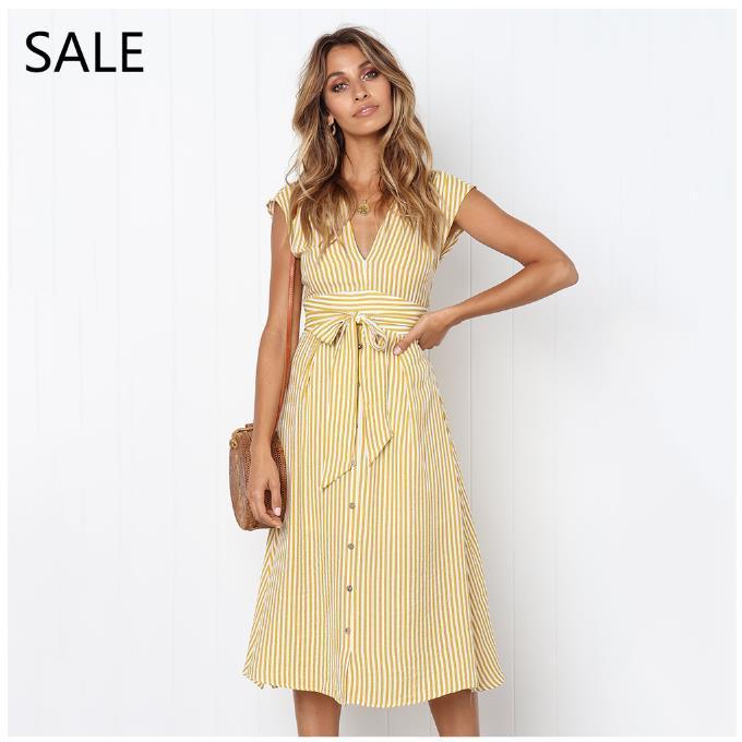 Midi Women Summer Dress Casual Striped Print Cotton Comfortable .