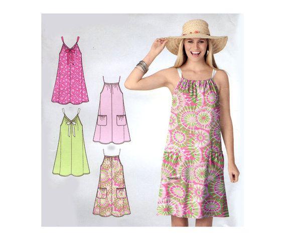 Easy Summer Dress Pattern Drawstring Neck by PrettyPatternShop .