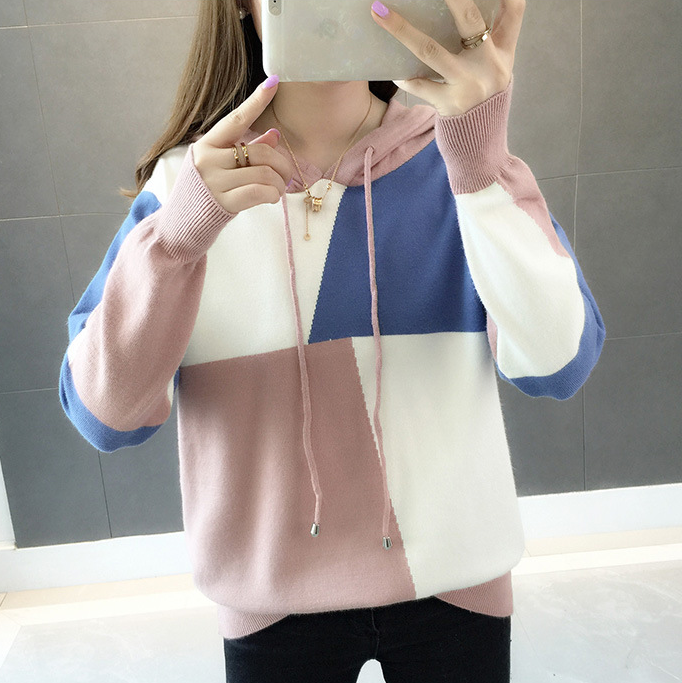 Women's Fashion Knitted Sweater Girls Cute Knitted Hoodie Sweaters .