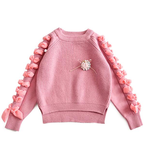 2018 Spring Baby Girls Sweater Kids Knitwear Silk Ribbon Sleeves S.