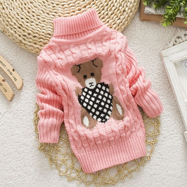 Winter Knitted Turtleneck Boys Girls Sweaters Pullovers for Kids .
