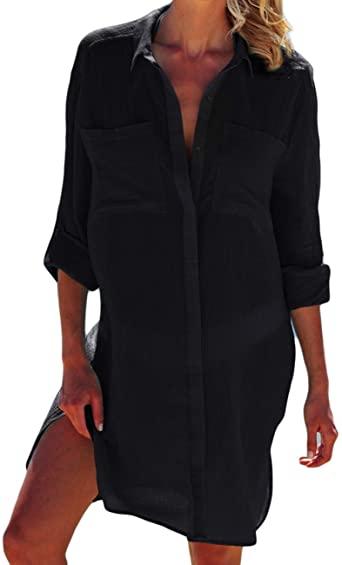 Bsubseach Women Loose Black Turn Down Collar Bikini Swimwear Cover .