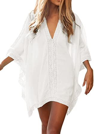 FMing Women's Solid Oversized V-Neck Beach Bikini Cover Up .