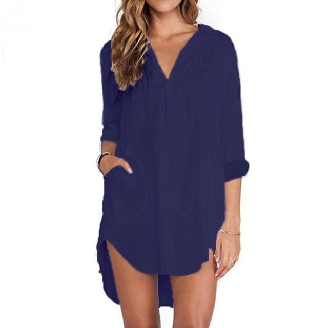 Navy - Boyfriend Shirt Swim Cover Up- Yoga Beach - $24.