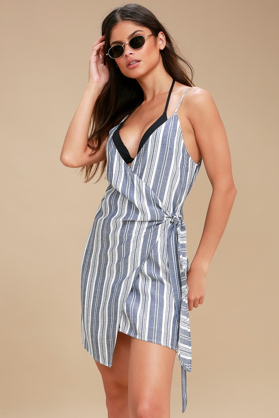 Cute Navy Blue and White Swim Cover-Up - Wrap Dre