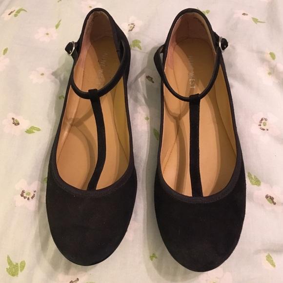 Nine West Shoes | Black Tstrap Flats | Poshma