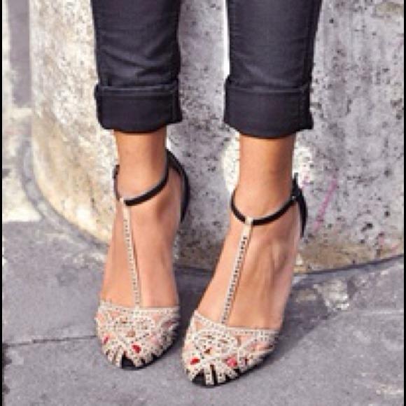 Zara Shoes | Brand New S Embellished T Strap Flats 100 | Poshma