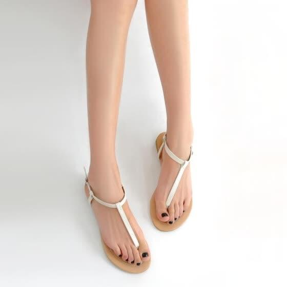 Shop New Fashion Women Flat Sandals T-Strap Toe Post Pin Buckle .