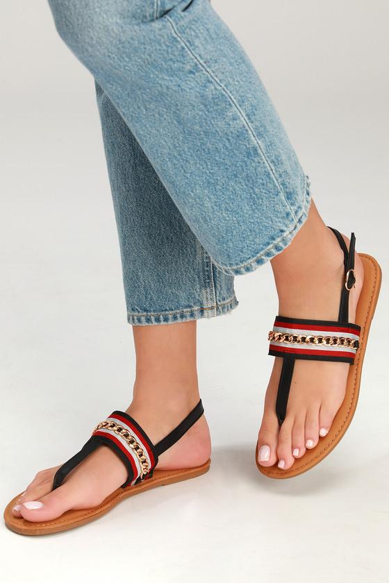 Cool Black Striped Sandals - Flat Sandals - T-Strap Sanda