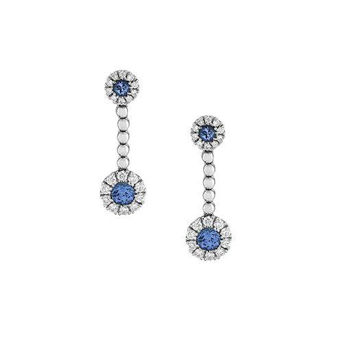 JF Collection Diamond Halo Tanzanite Earrin