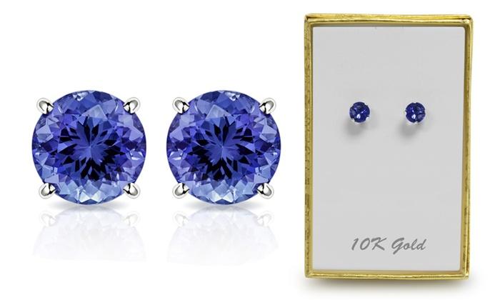 10K White Gold 2.00 CTW Created Tanzanite Stud Earrings by MUIBLU .