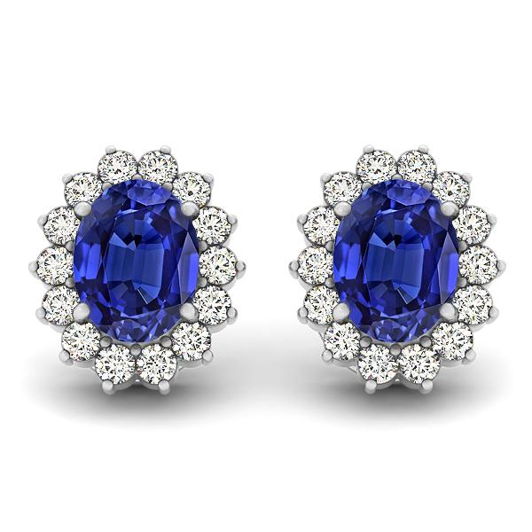 Oval Tanzanite & Diamond Earrin