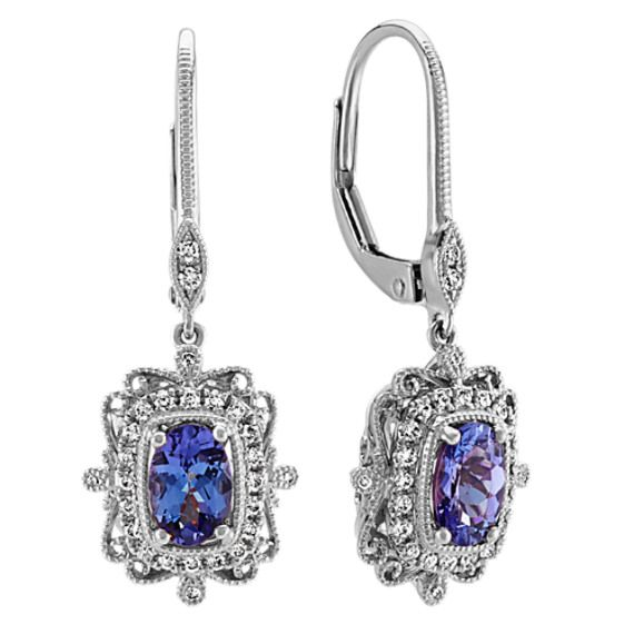 Vintage Dangle Tanzanite and Diamond Earring in 14k White Gold in .