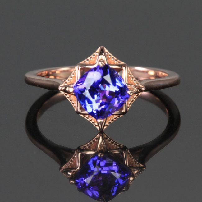 14K Rose Gold Square Cushion Tanzanite Ring 1.36 Carats .