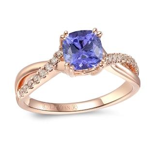 Le Vian Tanzanite Ring 1/6 ct tw Diamonds 14K Strawberry Gold .