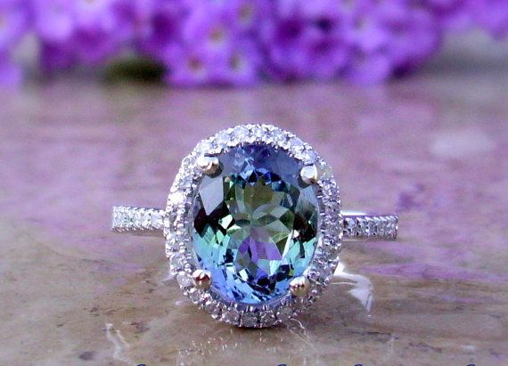 Tanzanite Engagement Ring | Tanzanite and Diamond Ring | 14kt .