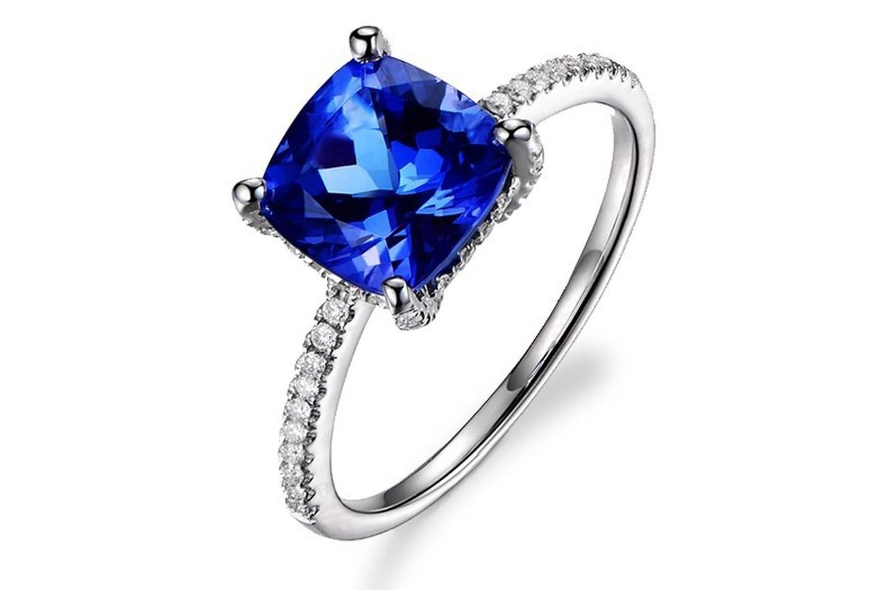 Classic Pave Tanzanite Ring with Natural Diamonds - Petra Ge