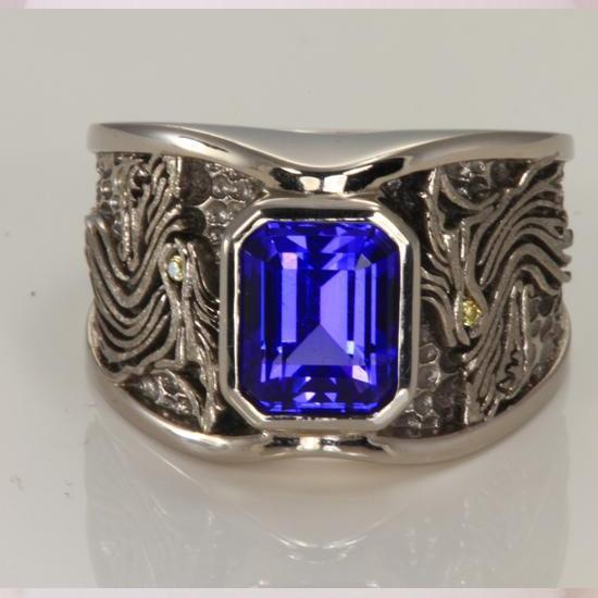 Men's Tanzanite and Diamond Wolf Ring in Palladium - Tanzanite .
