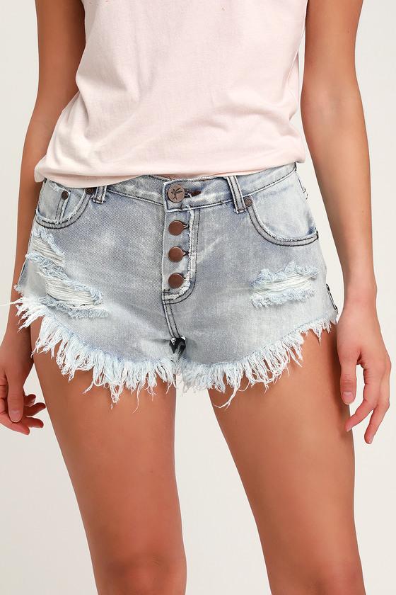 One X One Teaspoon Brandos - Light Wash Shorts - Denim Shor