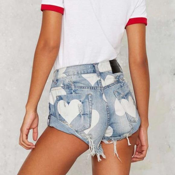 One Teaspoon Shorts | Cupid Hearts Bandit | Poshma