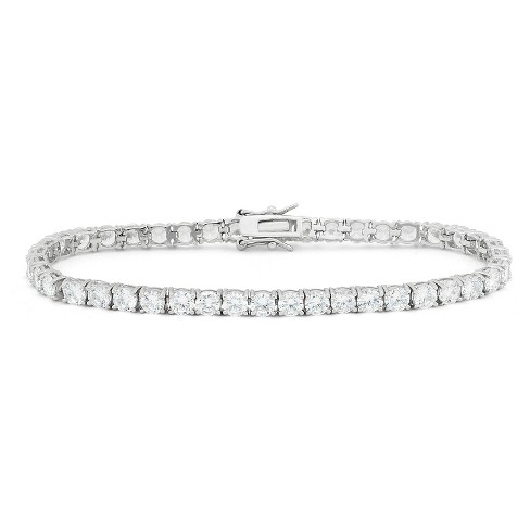 4mm Round-cut Cubic Zirconia Tennis Bracelet In Sterling Silver .