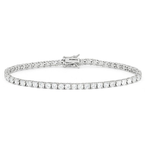 3mm Round-cut Cubic Zirconia Tennis Bracelet In Sterling Silver .