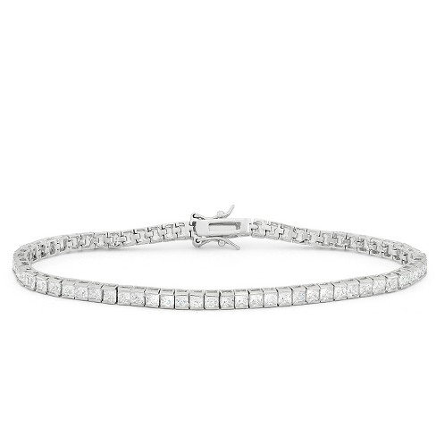 2.5mm Square-cut Cubic Zirconia Tennis Bracelet In Sterling Silver .