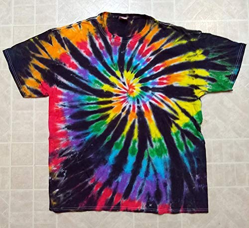 Amazon.com: Adult Tie-Dye T-Shirt - Black Rainbow Spiral - 100 .