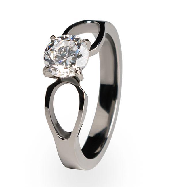To Infinity - Solitaire Titanium Engagement Ring   Titanium Rin