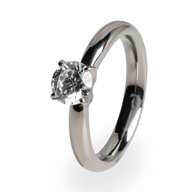 Helena - Solitaire Titanium Engagement Ring   Titanium Rin