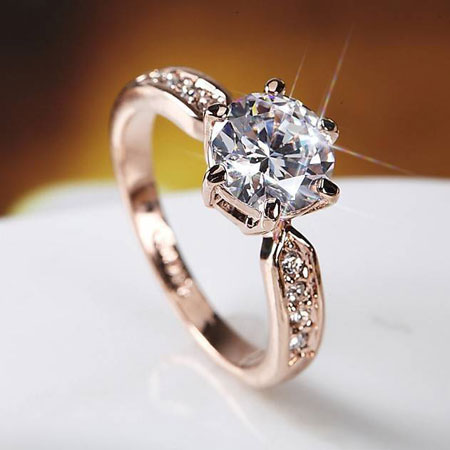 Rose Gold Six Prong Titanium Engagement Rings for Women - Couple .