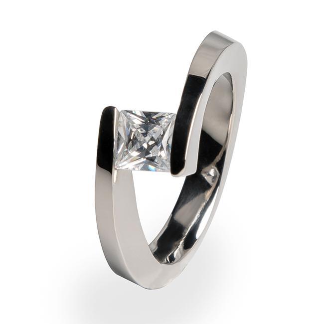 Etoile - Solitaire Women's Titanium Engagement Ring   Titanium Rin