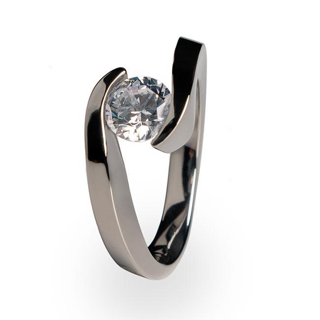 Stella - Solitaire Titanium Engagement Ring   Titanium Rin
