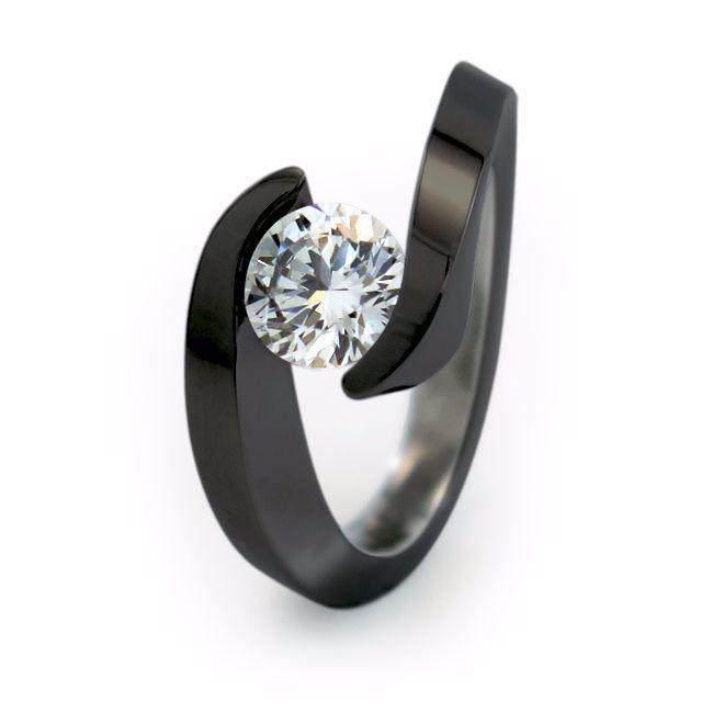 Stella   Black Titanium Ring with Diamond or Gemstone   Titanium Rin